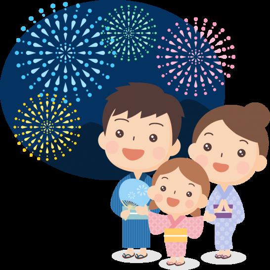 【夏祭りのイラスト】打ち上げ花火を眺める浴衣姿の家族