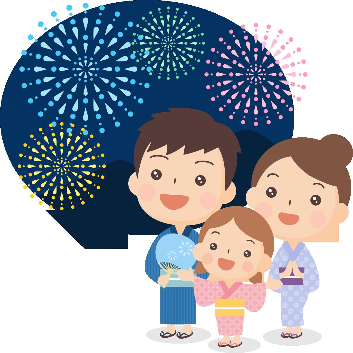 夏祭りのイラスト】打ち上げ花火を眺める浴衣姿の親子 | 無料フリー