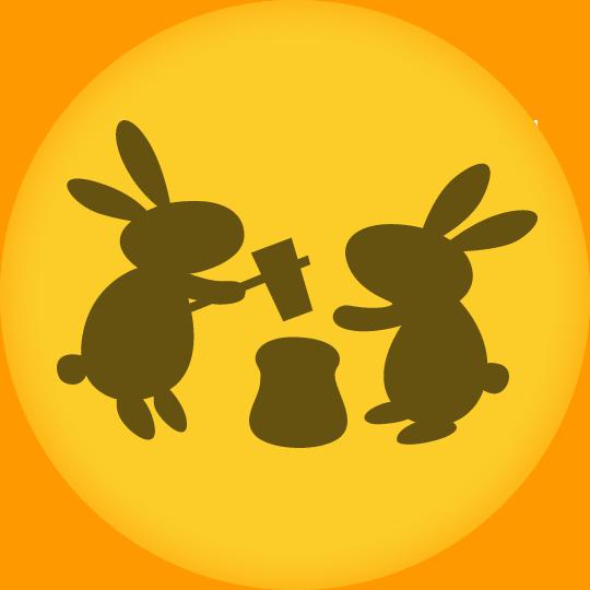 うさぎが餅つきをする満月(中秋の名月)のイラスト
