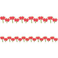 彼岸花(ヒガンバナ)のライン飾り罫線イラスト素材