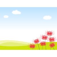 秋の青空と彼岸花(ヒガンバナ)の背景フレーム枠イラスト