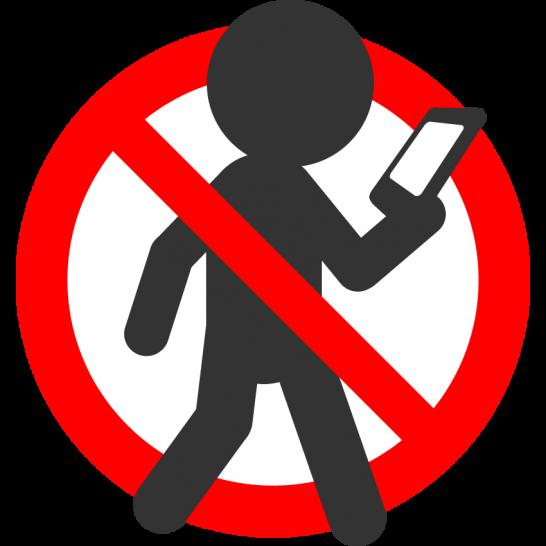歩きスマホ禁止マークのイラスト