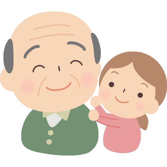 肩たたきをする孫とおじいちゃんのイラスト