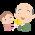 孫から花束をもらう祖父(おじいちゃん)のイラスト