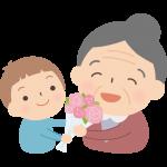 孫に花束をプレゼントされる祖母(おばあちゃん)のイラスト