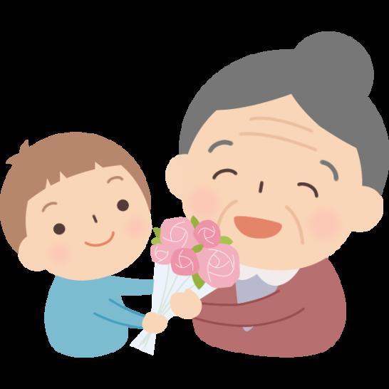 孫に花束をプレゼントされるおばあちゃんのイラスト