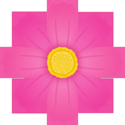 コスモスの花のイラスト<赤>