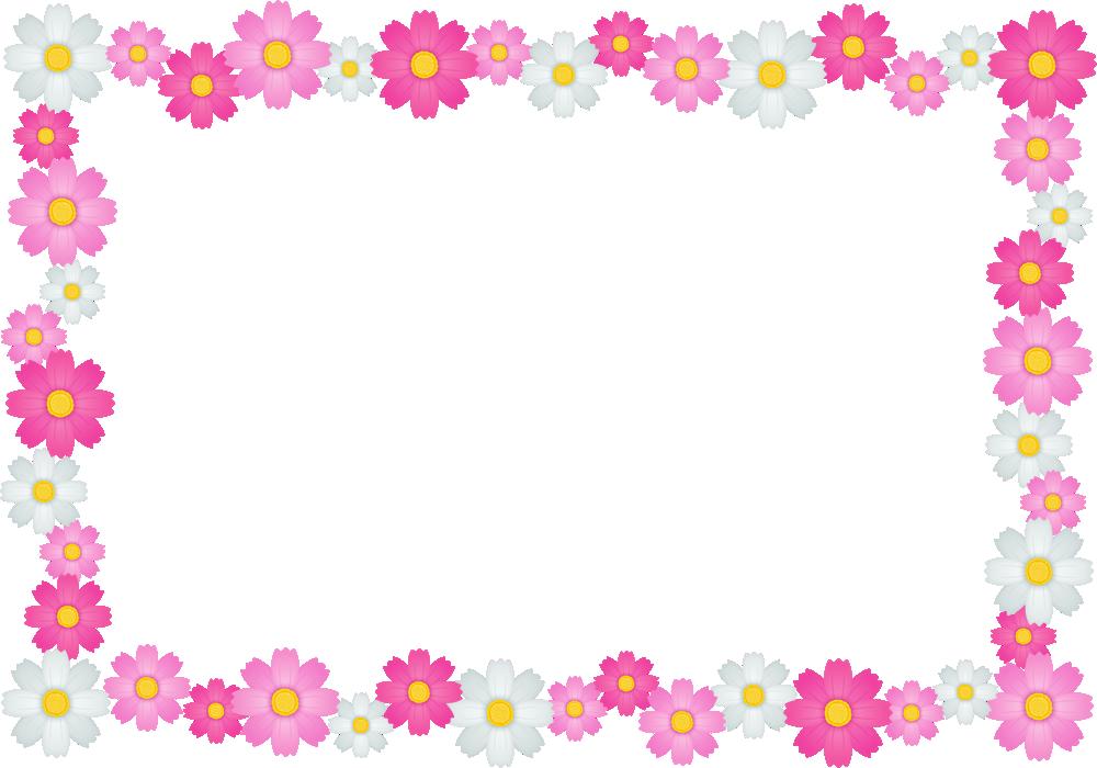 コスモスの花のフレーム囲み枠イラスト<長方形>