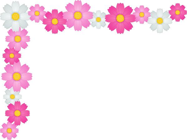 コスモスの花のコーナー飾り枠フレームイラスト<小>