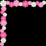 秋桜(コスモス)の花のコーナー飾り枠フレームイラスト