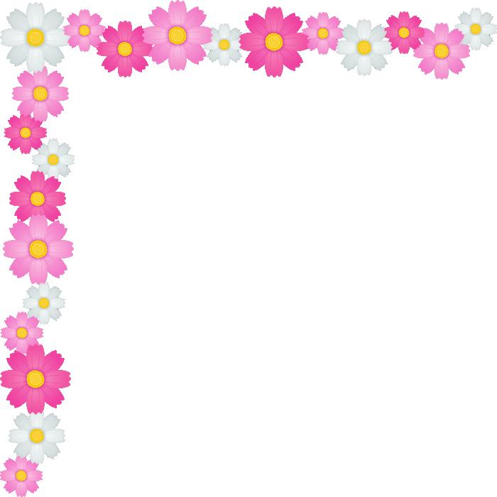 コスモスの花のコーナー飾り枠フレームイラスト<大>