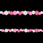 秋桜(コスモス)の花のライン飾り罫線イラスト