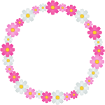 秋桜(コスモス)の花のリース風フレーム枠イラスト