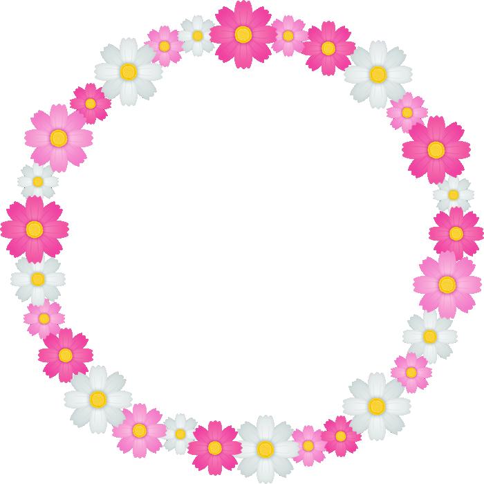 コスモスの花のリース風フレーム枠イラスト<小>