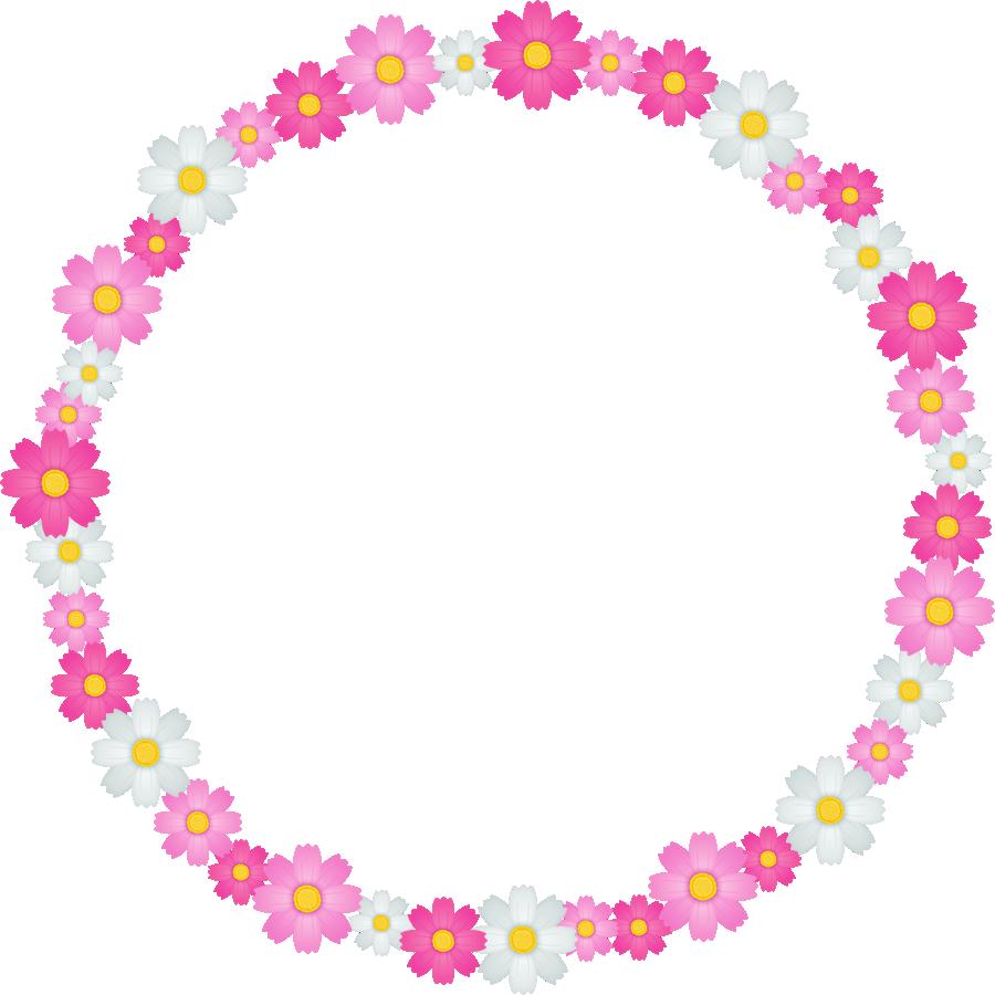 秋桜(コスモス)の花のリース風フレーム枠イラスト | 無料フリー