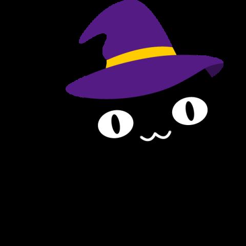 【ハロウィンのイラスト】帽子をかぶった可愛い黒猫