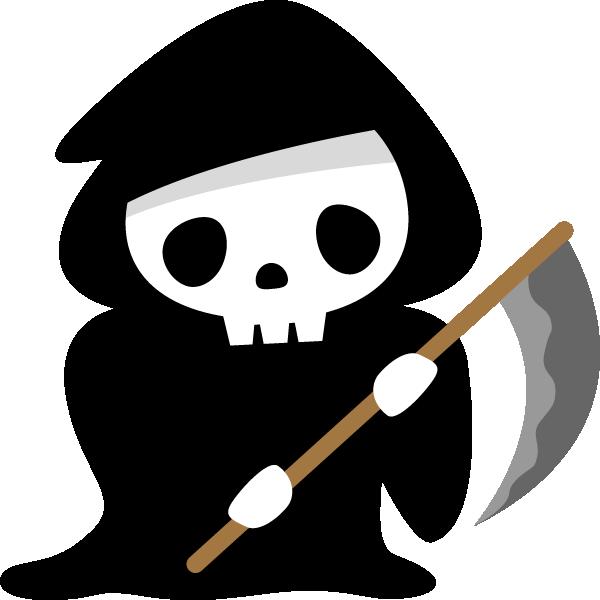 【ハロウィンのイラスト】鎌を持った可愛い死神(骸骨)