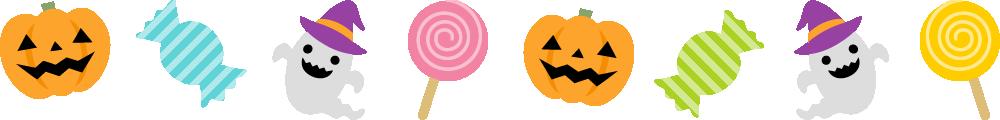 ハロウィンのライン飾り罫線イラスト<大>