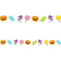 ハロウィンのライン飾り罫線イラスト(キャンディー・かぼちゃ・おばけ)