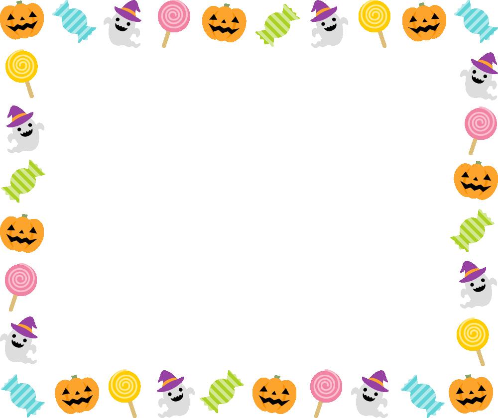 ハロウィン(キャンディー・かぼちゃ・おばけ)のフレーム枠イラスト