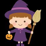 魔女のハロウィンコスプレ(仮装)をした女の子のイラスト