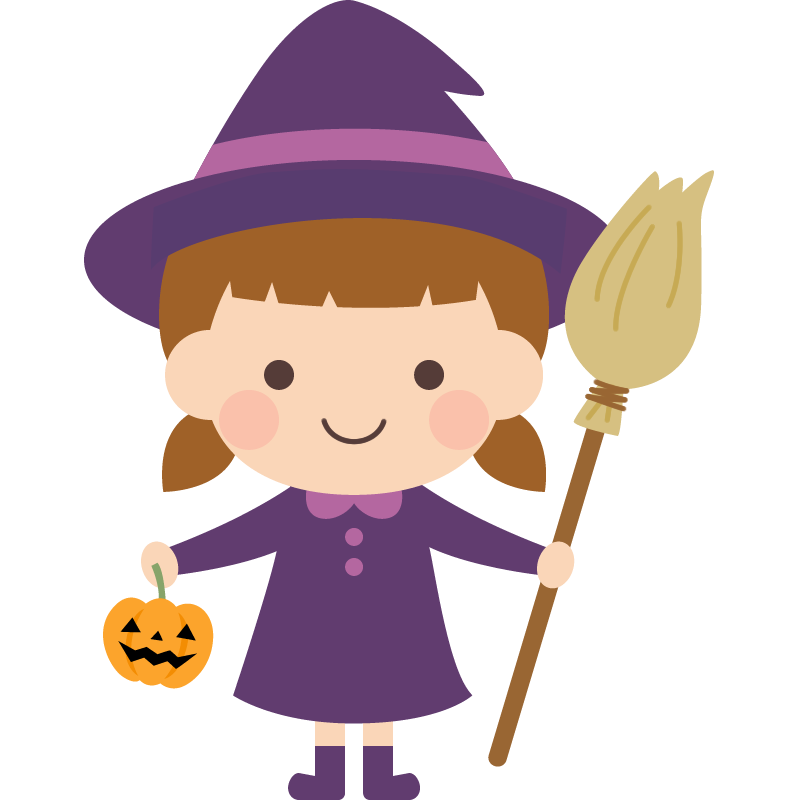 魔女(魔法使い)のハロウィンコスプレをした女の子のイラスト