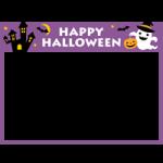 ハロウィーンイラストを飾ったフレーム枠素材(洋館・コウモリ・おばけ・かぼちゃランタン)