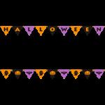 ガーランド(三角フラッグ)風ハロウィーンのライン飾り罫線イラスト