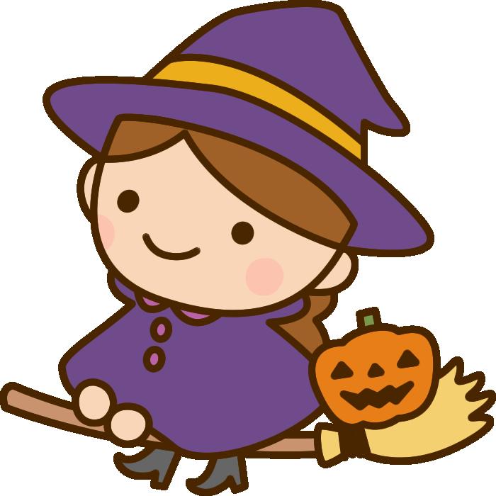 ほうきに乗った魔女(魔法使い)の女の子のハロウィンイラスト