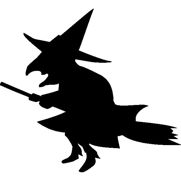 魔女(魔法使い)のモノクロ・シルエットイラスト