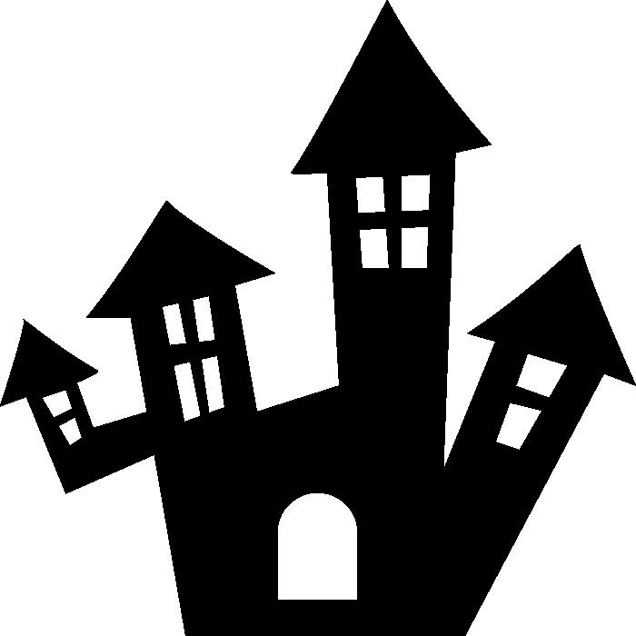 お化け屋敷(洋館・城)のモノクロ・シルエットイラスト