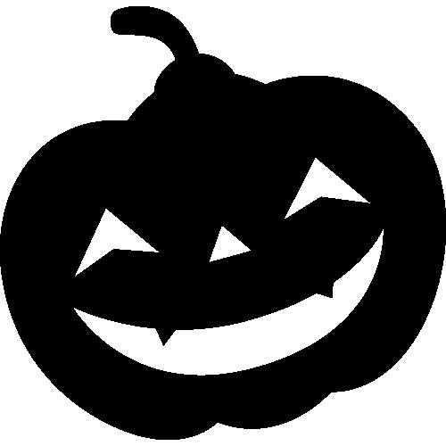 かぼちゃランタンのモノクロ・シルエットイラスト
