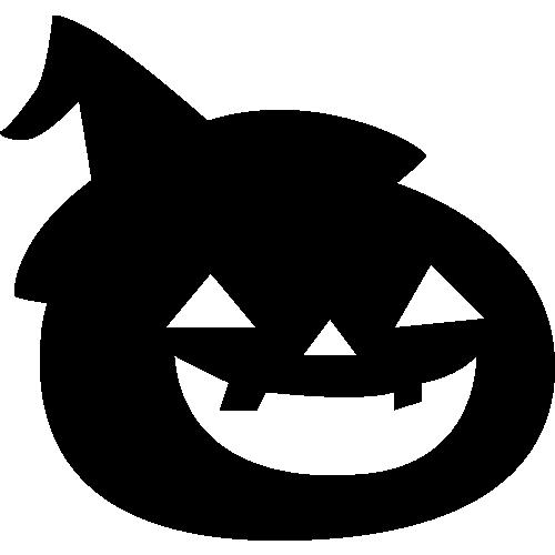 ハロウィンかぼちゃ(パンプキン)のモノクロ・シルエットイラスト