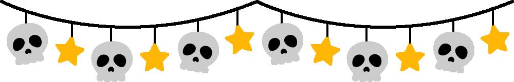 骸骨と星のガーランド風ライン飾り罫線イラスト<カラー>
