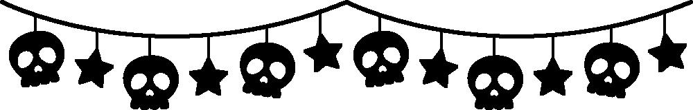 骸骨と星のガーランド風ライン飾り罫線イラスト<白黒>