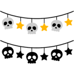 骸骨と星のガーランド風ライン飾り罫線イラスト<カラー・白黒>