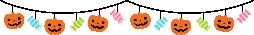カボチャとキャンディーのガーランド風ライン飾り罫線イラスト<カラー>