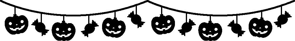 カボチャとキャンディーのガーランド風ライン飾り罫線イラスト<白黒>