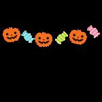 カボチャとキャンディーのガーランド風ライン飾り罫線イラスト<カラー・白黒>