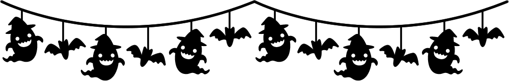 おばけとコウモリのガーランド風ライン飾り罫線イラスト<白黒>
