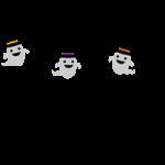 おばけとコウモリのガーランド風ライン飾り罫線イラスト<カラー・白黒>