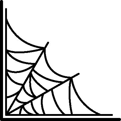 蜘蛛(クモ)の巣のコーナー飾りフレーム枠イラスト