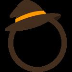 ハロウィンの帽子を飾った丸型フレーム枠イラスト