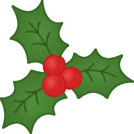 ヒイラギの葉と赤い実のイラスト