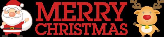 クリスマスのタイトル文字「MERRY CHRISTMAS」<赤>