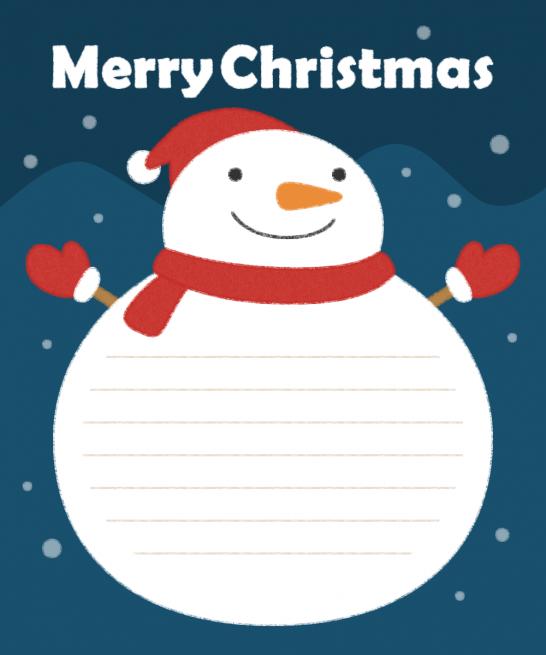 雪だるまのメッセージフレーム枠イラスト
