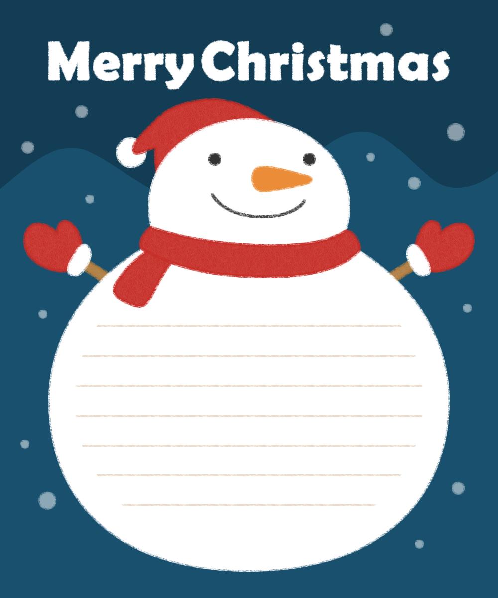 Xmas雪だるまのメッセージフレーム枠イラスト 無料フリーイラスト