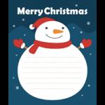 【Xmas】雪だるまのメッセージフレーム枠イラスト