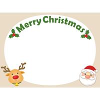 クリスマスの可愛いメッセージフレーム枠(トナカイとサンタ)