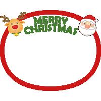 クリスマスの丸型フレーム枠素材